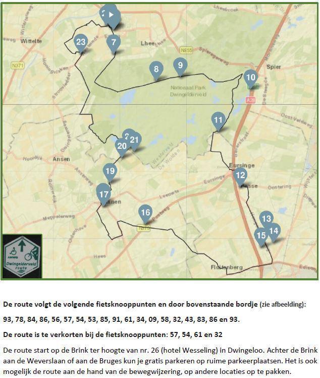 Dwingelderveld fietsroute